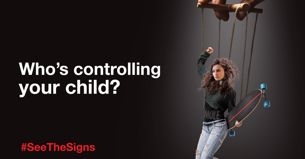 A graphic from our parents campaign, raising awareness that young people can be exploited